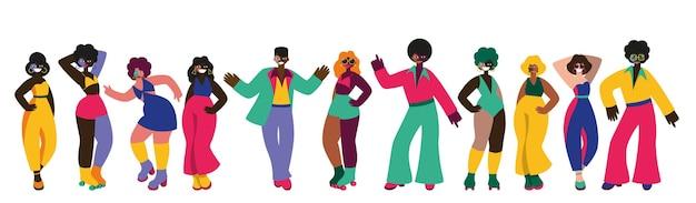 Insieme di vettore di gente che balla discoteca e moda degli anni '70 70