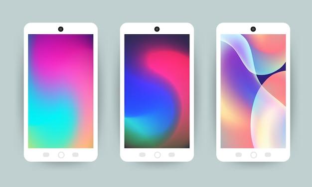 Vector set design concept mobile screen wallpaper fluido olografico gradiente luminoso sfondo Vettore Premium