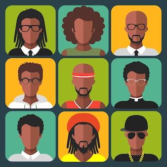 Insieme di vettore di diverse donne afroamericane e icone di app uomo in stile piatto alla moda.