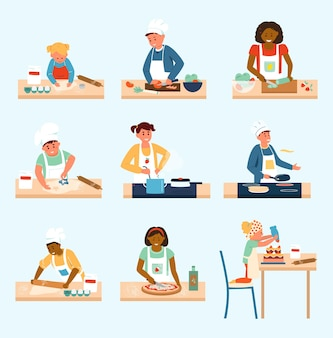 Insieme di vettore di bambini di diversa età ed etnia in grembiuli e cappelli da cuoco in cucina.