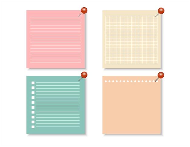 Insieme vettoriale di carte diverse note di colore.