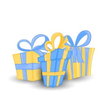 Insieme di vettore di diverse scatole regalo incartate colorate. bella scatola regalo di natale e capodanno con fiocco travolgente. illustrazione vettoriale. Vettore Premium