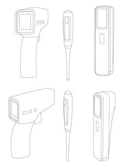 Set vettoriale di termometri digitali, dispositivi pistola per il controllo della temperatura