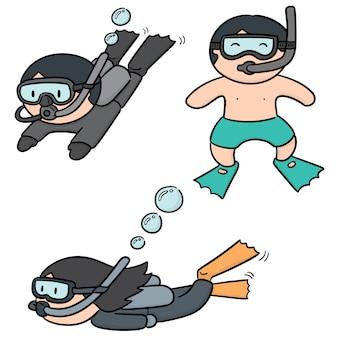 Set vettoriale di subacqueo