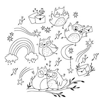 Set vettoriale. doodle frecce stile boho e con fiori. posta romantica.