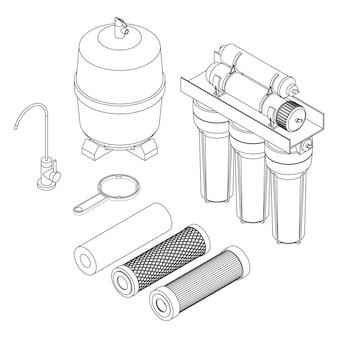 Set vettoriale di filtro per l'acqua da bere, sistema domestico ad osmosi inversa
