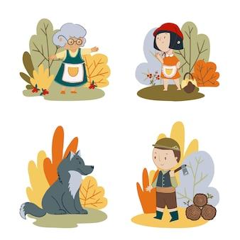 Set vettoriale di personaggi delle fiabe cappuccetto rosso nonna lupo e boscaiolo