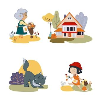 Set vettoriale di personaggi delle fiabe cappuccetto rosso bambina nonna e lupo