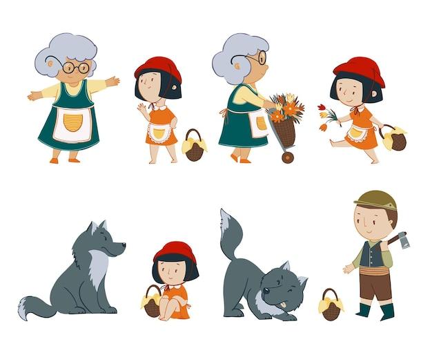 Set vettoriale di personaggi delle fiabe cappuccetto rosso
