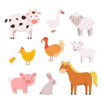 Insieme di vettore degli animali del bambino della fattoria disegnati a mano in stile cartone animato