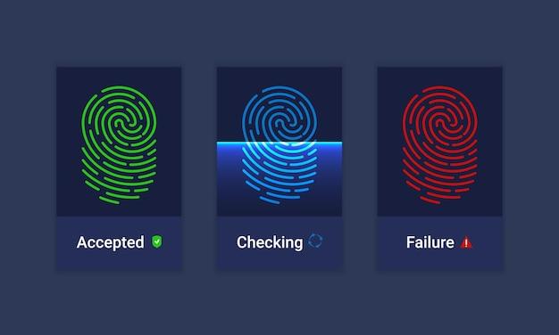 Insieme di vettore delle icone del sistema di autorizzazione dell'identificazione delle impronte digitali. tecnologie fantascientifiche del futuro. autorizzazione biometrica e concetto di sicurezza aziendale.