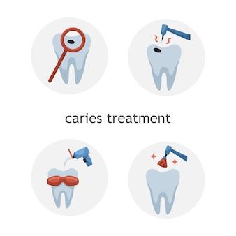 Insieme di vettore delle icone piane di odontoiatria. trattamento della carie