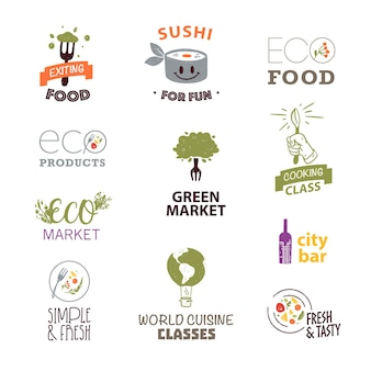 Insieme di vettore del modello di progettazione del logo di cibo piatto con trama ed elementi floreali disegnati a mano