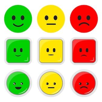 Set vettoriale illustrazione piatta dell'icona del tasso di feedback, pulsante quadrato rotondo, emoticon kawaii positivo, neutro e negativo.