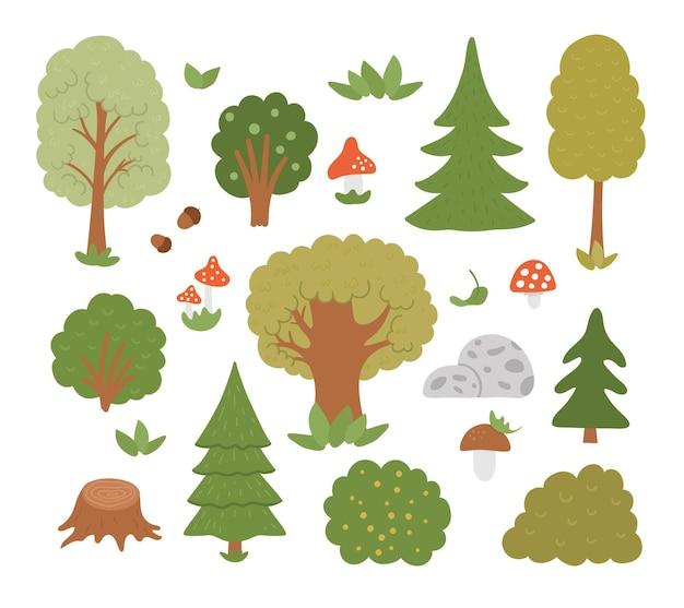 Insieme di vettore degli alberi forestali, piante, arbusti, cespugli, funghi isolati su priorità bassa bianca. illustrazione piatta del bosco autunnale. collezione di icone di verde naturale
