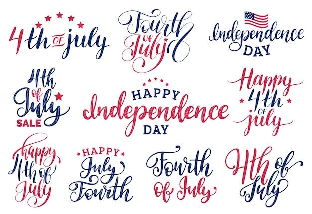 Set vettoriale quarto di luglio scritte a mano per biglietti di auguri, striscioni ecc. felice giorno dell'indipendenza