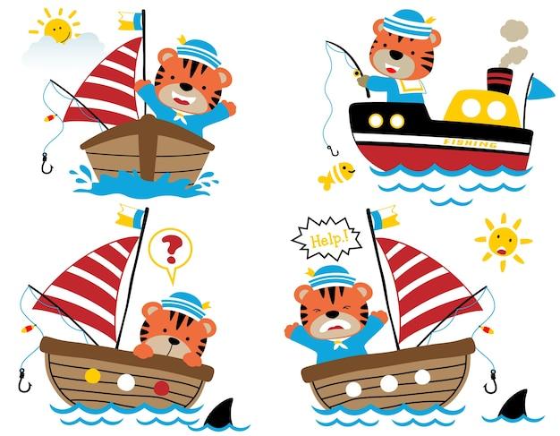 Insieme di vettore del fumetto divertente del marinaio della tigre