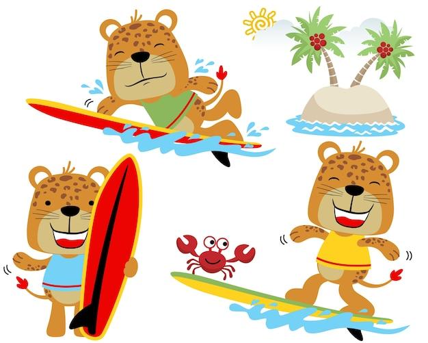 Insieme di vettore del fumetto di tigri divertenti