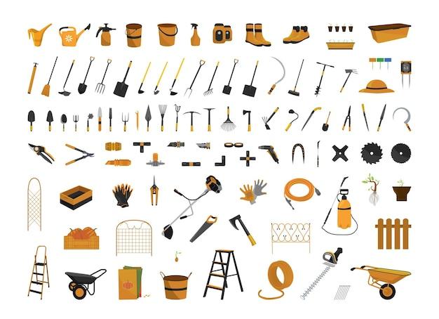 Set vettoriale di attrezzi da giardinaggio