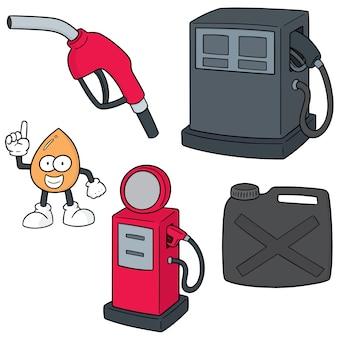Set vettoriale della stazione di benzina