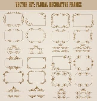Vector set di bordi decorativi oro
