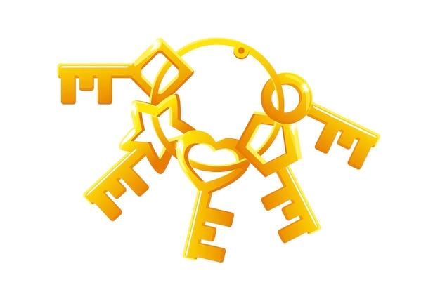 Insieme di vettore delle chiavi dorate in un mazzo. raccolta di chiavi di diverse forme per la serratura.