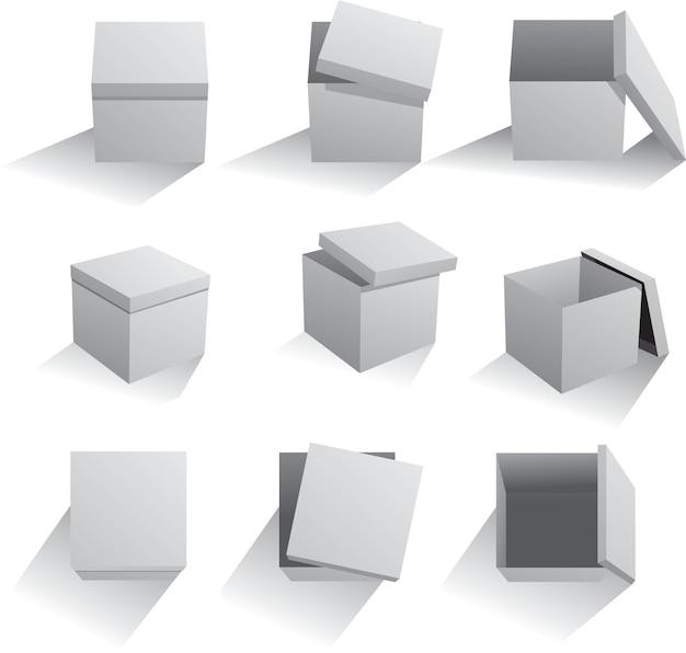 Set vettoriale di scatole grigie
