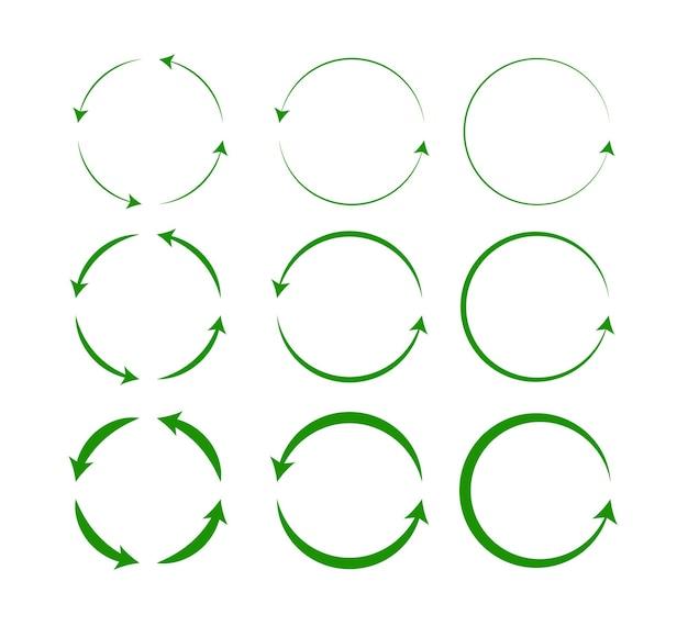 Insieme di vettore delle frecce del cerchio verde isolate su fondo bianco ruotare la freccia e caricare la rotazione