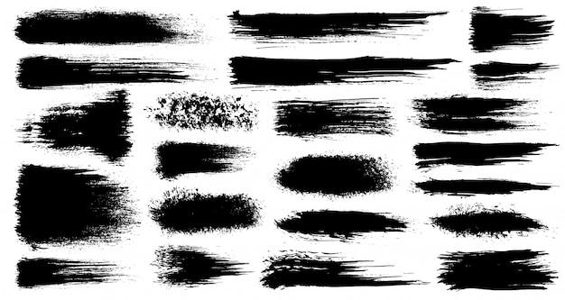 Insieme di vettore delle pennellate artistiche grunge, pennelli. elementi di design creativo. pennellate larghe dell'acquerello di lerciume. raccolta nera isolata su fondo bianco