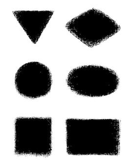 Set vettoriale di pennellate a mano e macchie inchiostro di carbone su tela elementi di design artistico sporchi