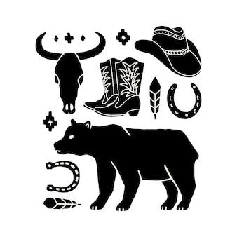 Insieme di vettore degli elementi di tiraggio della mano del selvaggio west. icone occidentali del cowboy in bianco e nero. elementi di design per logo, etichetta, emblema, segno, distintivo. cappello da cowboy, stivali, teschio di mucca, ferro di cavallo, piuma, orso.