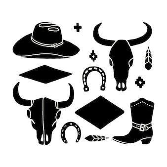 Insieme di vettore degli elementi di tiraggio della mano del selvaggio west. icone occidentali del cowboy in bianco e nero. elementi di design per logo, etichetta, emblema, segno, distintivo. cappello da cowboy, stivali, teschio di mucca, ferro di cavallo, piuma