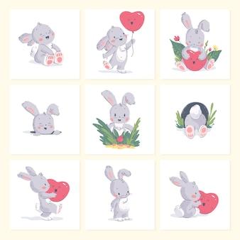 Insieme di vettore dell'illustrazione disegnata a mano di piccolo coniglio sveglio del bambino con palloncino a forma di cuore isolato su priorità bassa. buono per la bella carta di compleanno, la stampa della scuola materna, il poster di vday, l'etichetta, lo striscione, l'adesivo d'amore.