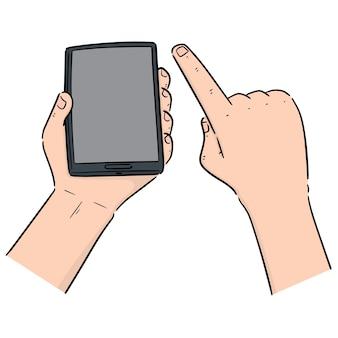 Set vettoriale della mano utilizzando smartphone