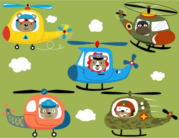 Set vettoriale di cartone animato elicottero con piloti di animali