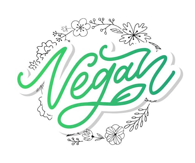 Illustrazione stabilita di vettore, food design. lettere scritte a mano per ristorante, menu caffetteria. elementi vettoriali per etichette, loghi, badge, adesivi o icone. collezione calligrafica e tipografica. menù vegano