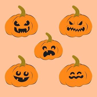 Insieme di vettore illustrazione di zucche con facce halloween night
