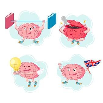 Insieme di vettore delle illustrazioni del cervello in diverse pose e situazioni su sfondo bianco. il concetto di un cervello dei cartoni animati. caratteri del cervello per il tema dell'educazione.