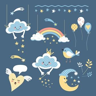 Set vettoriale di illustrazioni per il design dei bambini disegni animati di nuvole arcobaleni e palloncini