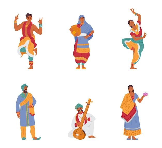 Insieme di vettore di personaggi indiani uomini e donne in abiti tradizionali. isolato su bianco.
