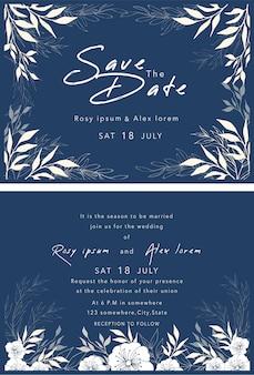 Insieme di vettore delle carte dell'invito con gli elementi raccolta di nozze.