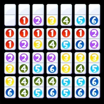 Insieme di vettore dei numeri colorati isolati domino per bambini. illustrazione della raccolta di domino per bambini.