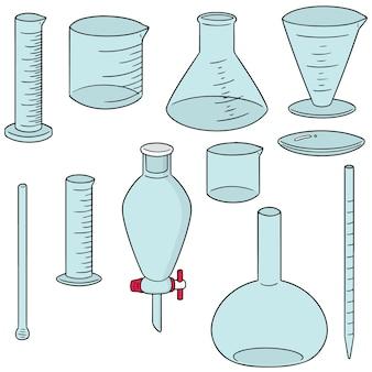 Vector set di vetreria di laboratorio