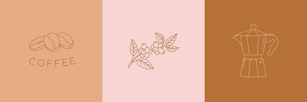 Insieme di vettore delle icone di caffè lineare in stile minimalista