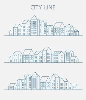 Insieme di vettore di edifici urbani lineari e illustrazioni di case e segni architettonici. per la progettazione di siti web, biglietti da visita, inviti e volantini sul tema urbano con una grafica fashion lineare.
