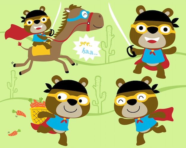 Insieme di vettore del fumetto dell'orso piccolo con il costume dell'eroe