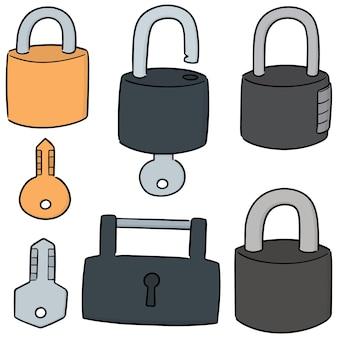 Set vettoriale di serratura e chiave