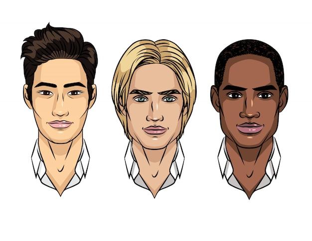 Insieme di vettore delle facce di uomini diverse nazionalità. tipo di aspetto asiatico, europeo, afroamericano. avatar di uomini di diverse razze