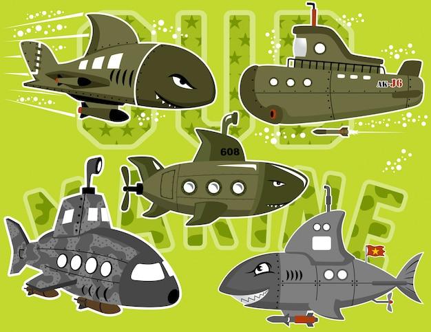 Set vettoriale di cartone animato sottomarino militare