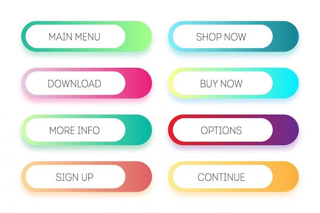 Insieme di vettore dei pulsanti app o gioco moderni gradiente. pulsante web dell'interfaccia utente, design del materiale